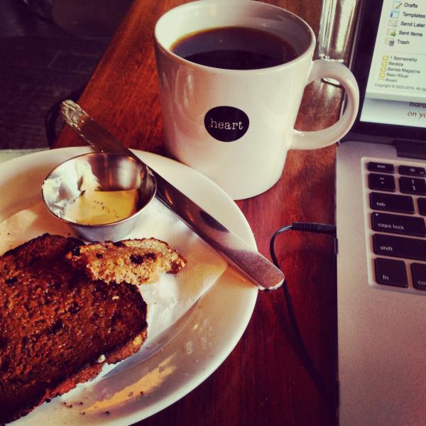 coffee, heart coffee, portland coffee, toast, working, coffee at work