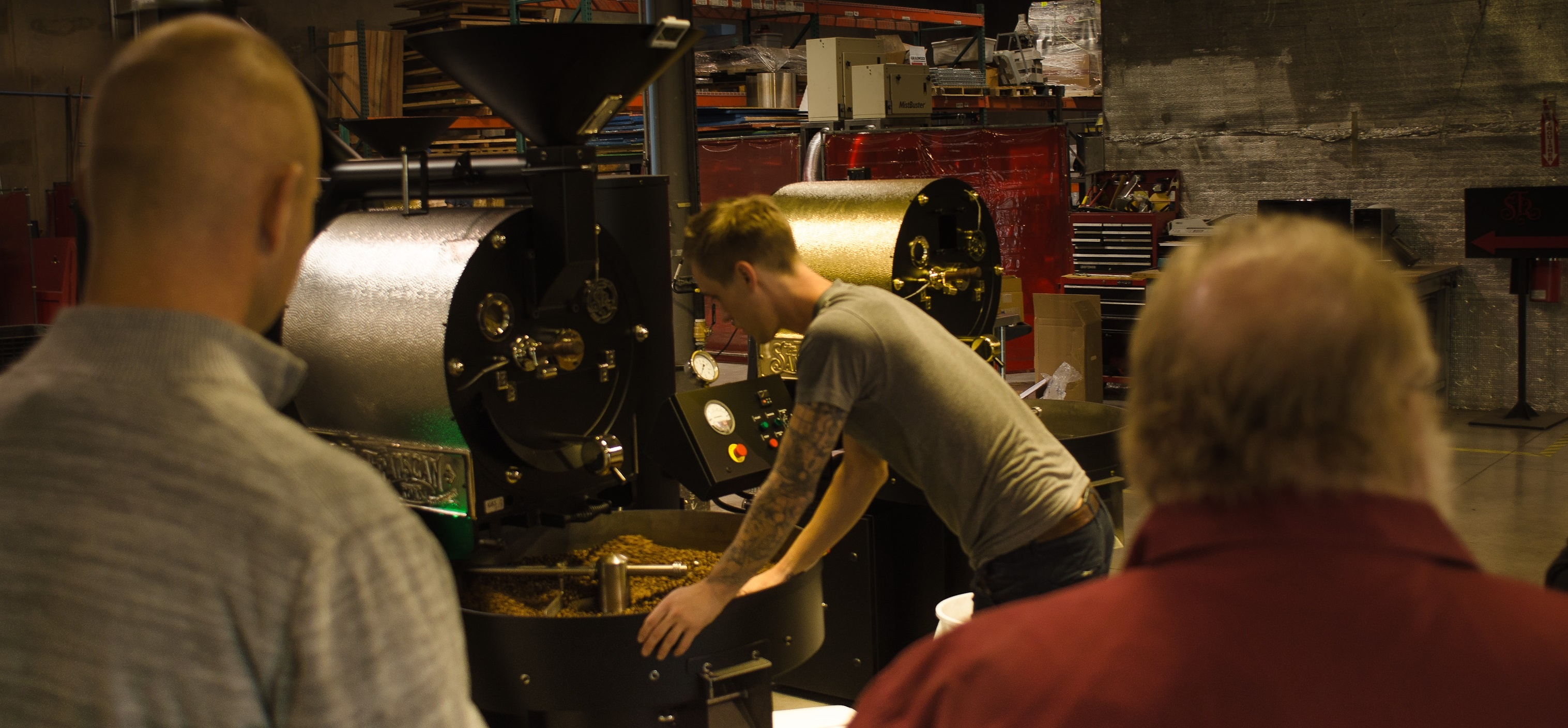 A San Franciscan Roaster roasting beans