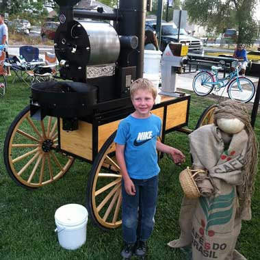 The San Franciscan 6lb coffee roaster with farmers cart