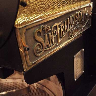 The San Franciscan Roaster name plate- built with art & ingenuity