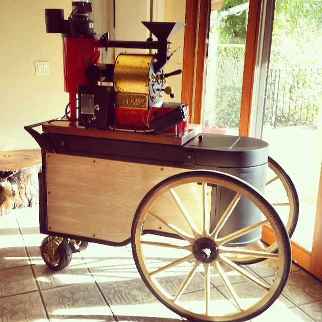 The Farmers Market Cart with an SF-1 coffee roaster