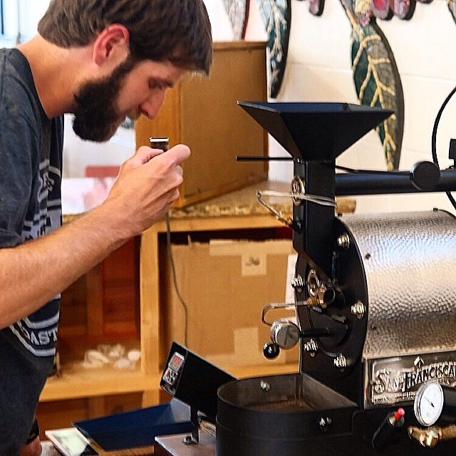 Dave Baxter with his San Franciscan 1 lb coffee roaster