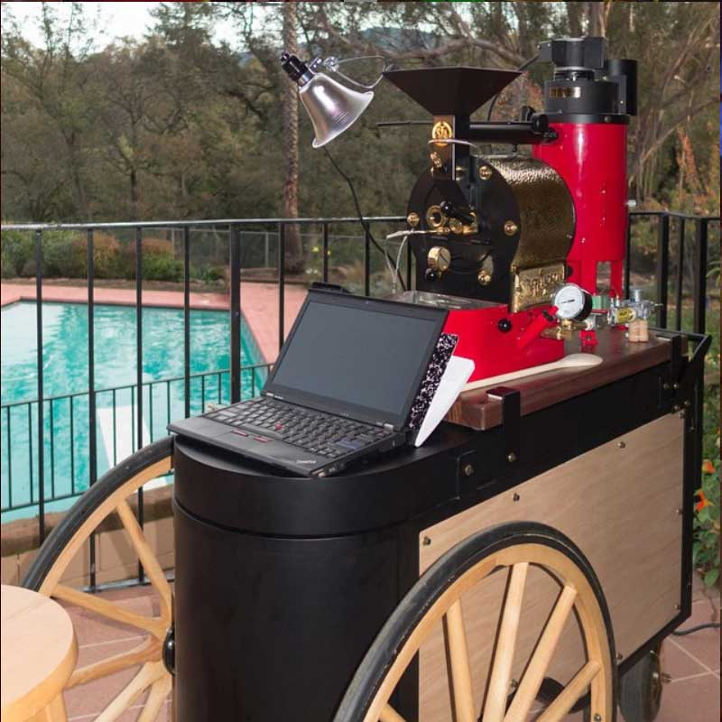 Pool side coffee roasting with an SF-1 on a farmers market cart